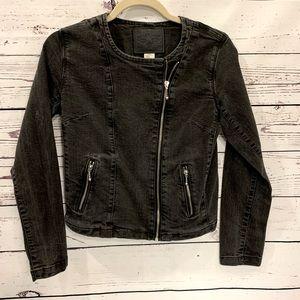 Levi black denim jacket with zipper